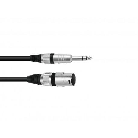 Kabel mikrofonowy XLRm- Jack 6,35 stereo