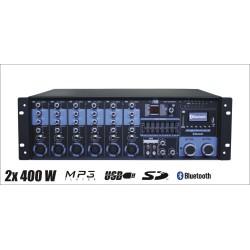Wzmacniacz radiowęzłowy SY-2400 2x400W 100V
